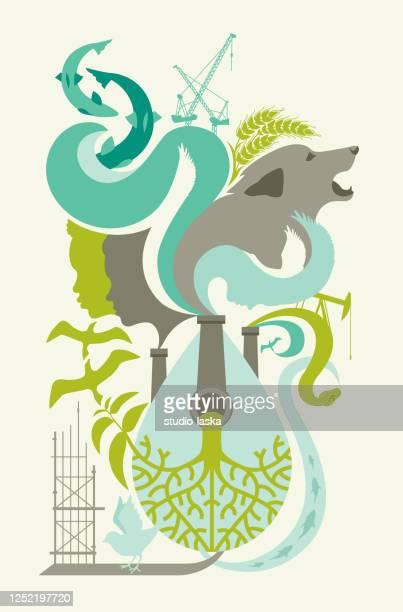 ilustraciones, imágenes clip art, dibujos animados e iconos de stock de concepto de impacto ambiental de la industria, desastre ecológico, dependencia de ecosistemas, relación entre los seres humanos y la naturaleza. - biodiversidad
