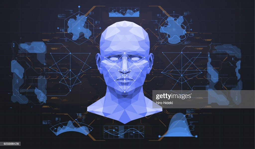 Concept of face scanning. Accurate facial recognition biometric technology and artificial intelligence concept. Face detection HUD interface