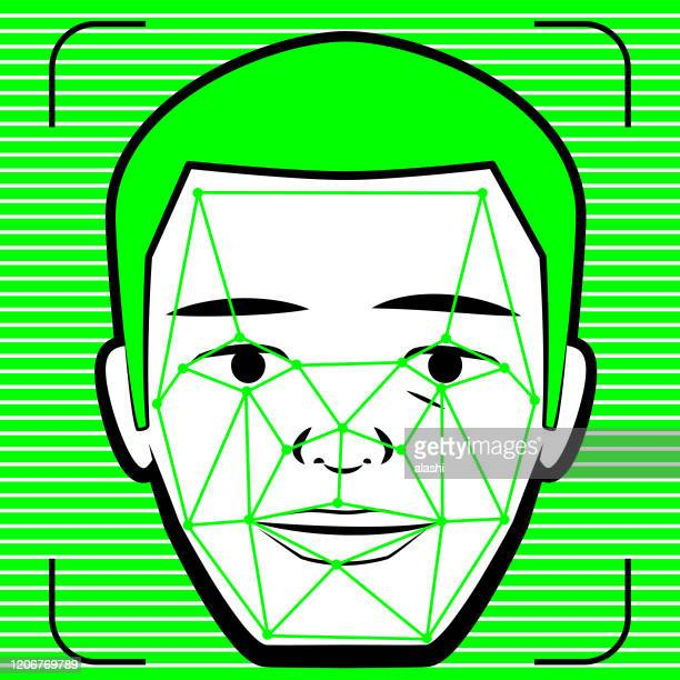 concept of facial recognition technology, deepfake and shallowfake - artificial neural network stock illustrations