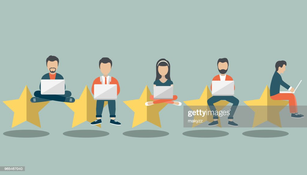 Concept of feedback, testimonials messages and notifications. Rating on customer service illustration. Five big stars with people sitting on them and giving reviews on their lap tops. Flat vector : Vector Art