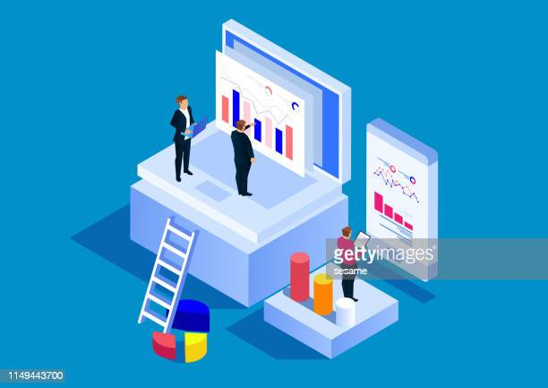 concept of financial research - big data isometric stock illustrations