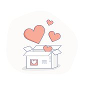 Concept of hearts, likes icon. Full of hearts or likes box.