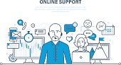 Concept of illustration - hour technical support, consultation and communication.