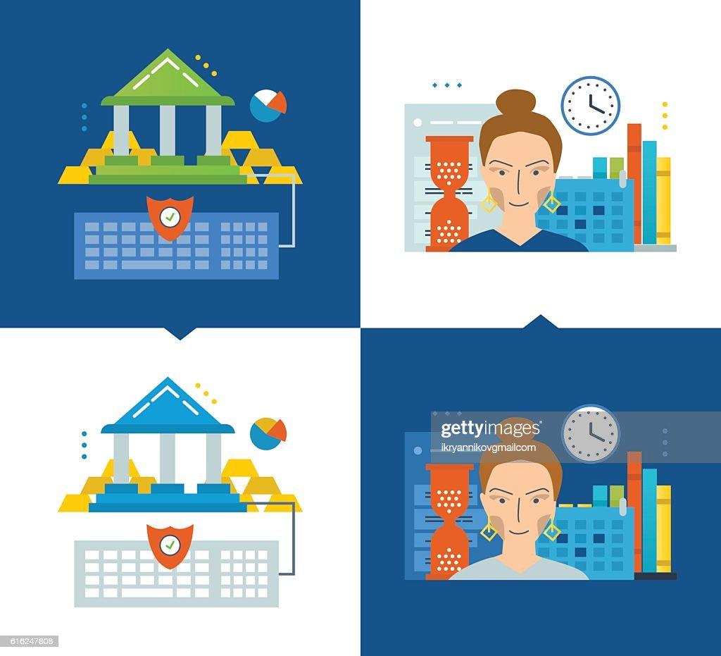 Concept of illustration - online banking, modern education, schedule and : Vektorgrafik