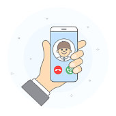 Concept of incoming call from known user.