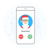 Concept of incoming Christmas call on smartphone screen.