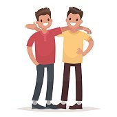Concept of male friendship. Two guys hug. Vector illustration in a flat style