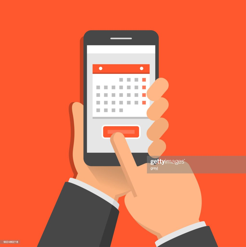 Concept of mobile application for calendar. One hand holds smartphone and finger touch screen. Flat design vector illustration
