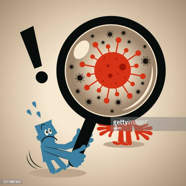 concept of performing quarantine and finding coronavirus super spreader, blue man with a magnifying glass looking at red man with new coronavirus (bacterium, virus) - viral shedding stock illustrations