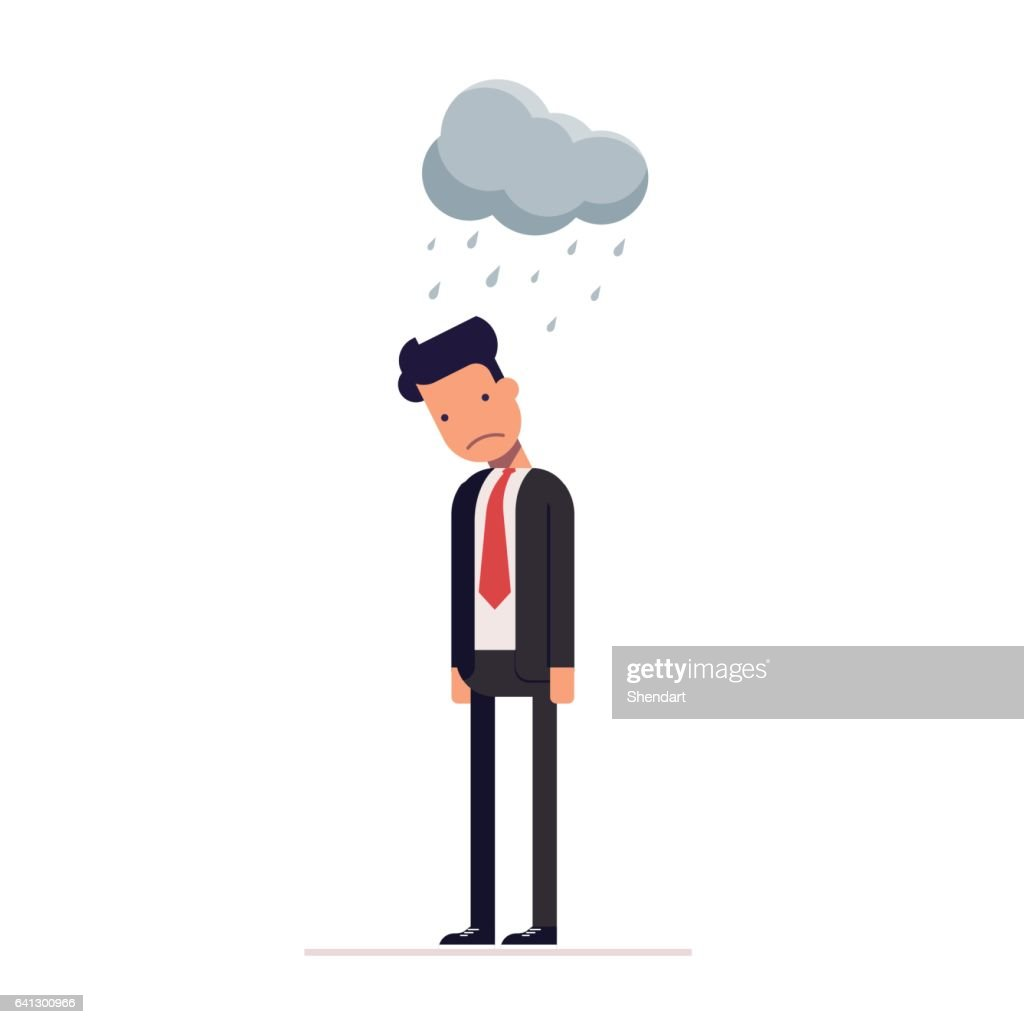 Concept of sad businessman or manager. Flat character isolated on white background. Vector, illustration EPS10.