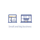 Concept of small and big business comparison, shop and office building