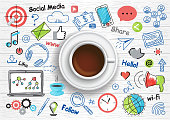 Concept of social media for graphic and web design