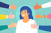 Concept of success. Cheerful young woman surrounded by hands with thumbs up.