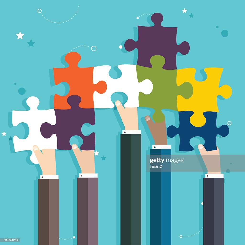 Concept of teamwork and integration with businessman holding col