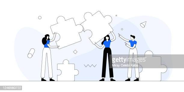 concept of teamwork. modern flat line vector illustration. - trust stock illustrations