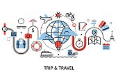 Concept of travelling around the world