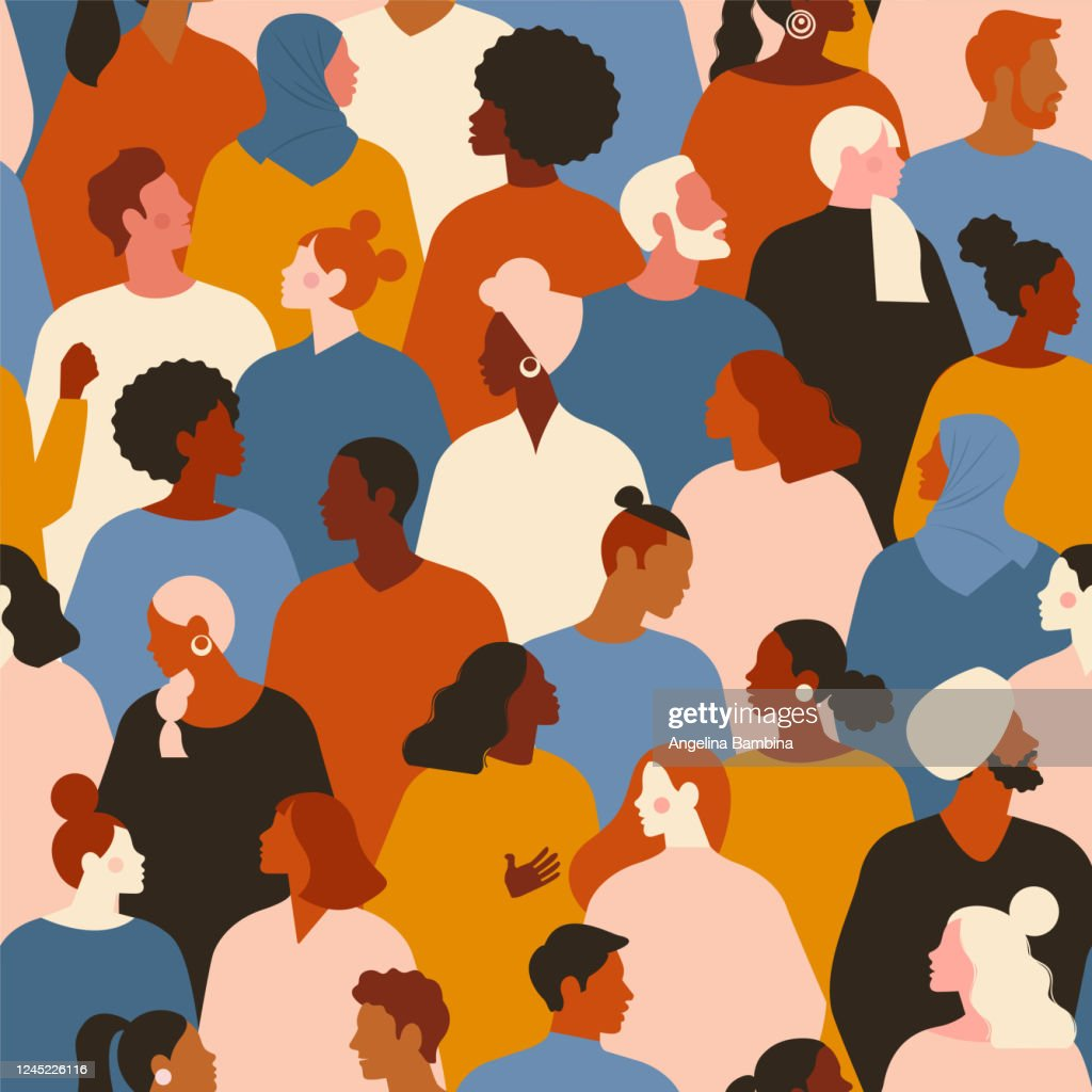 Concept on the theme of racism. Stop racism. The image of protesting people, equality. protest. Vector stock illustration. Flat style. Seamless pattern. : stock illustration