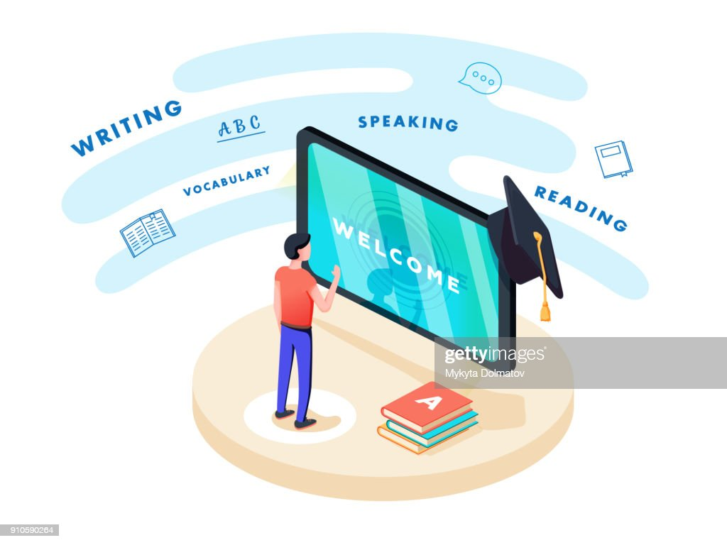 Concept on-line learning and teaching on theme of foreign languages. Student stands in front of gadget