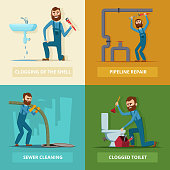 Concept pictures set of plumber at work