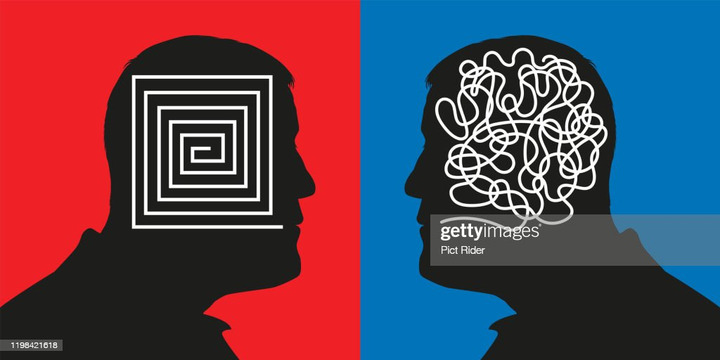 Concept pitting a rational mind against confused thinking by showing two men face to face. : stock illustration