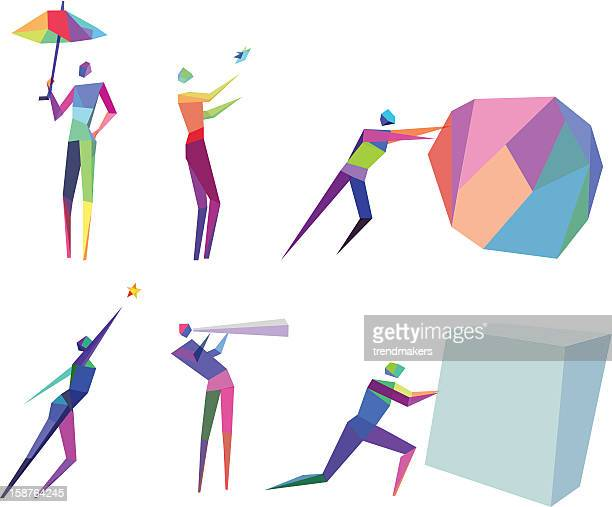 concept polygonal people - conversion sport stock illustrations
