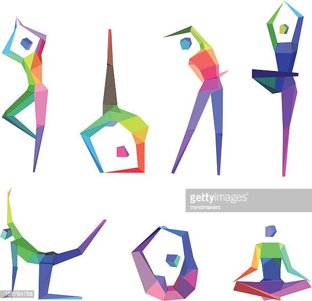 concept polygonal people - lotus position stock illustrations, clip art, cartoons, & icons