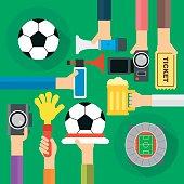 Concept soccer fan flat design