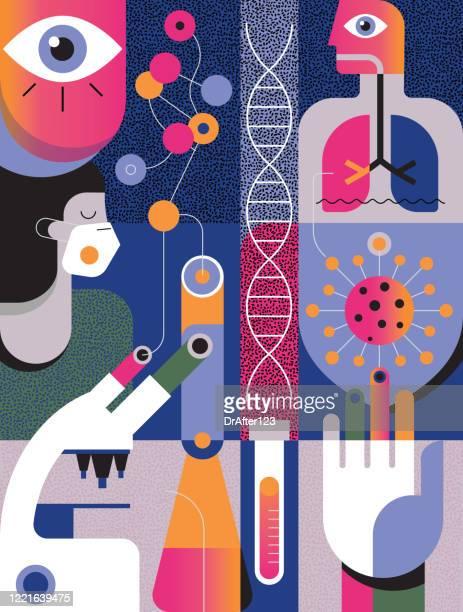 illustrations, cliparts, dessins animés et icônes de covid-19 concept - science