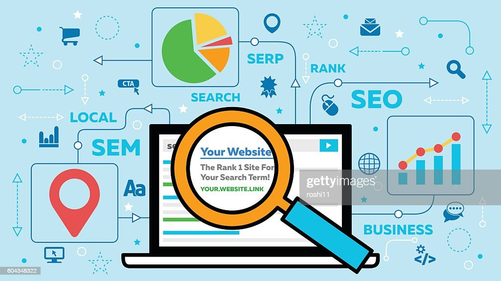 SEO Concept with Laptop and Icons