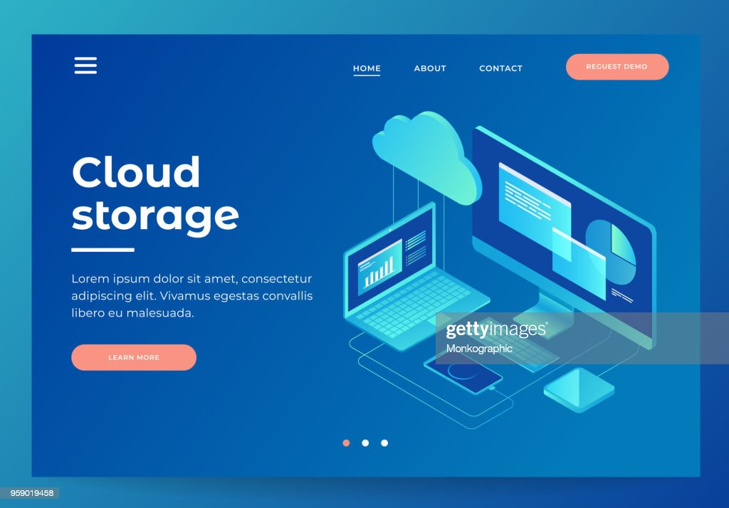 Concepts Cloud storage. Header for website with Computer, laptop, smartphone on blue background.