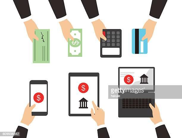 ilustrações, clipart, desenhos animados e ícones de concepts for payment methods. concepts web banner - pagando