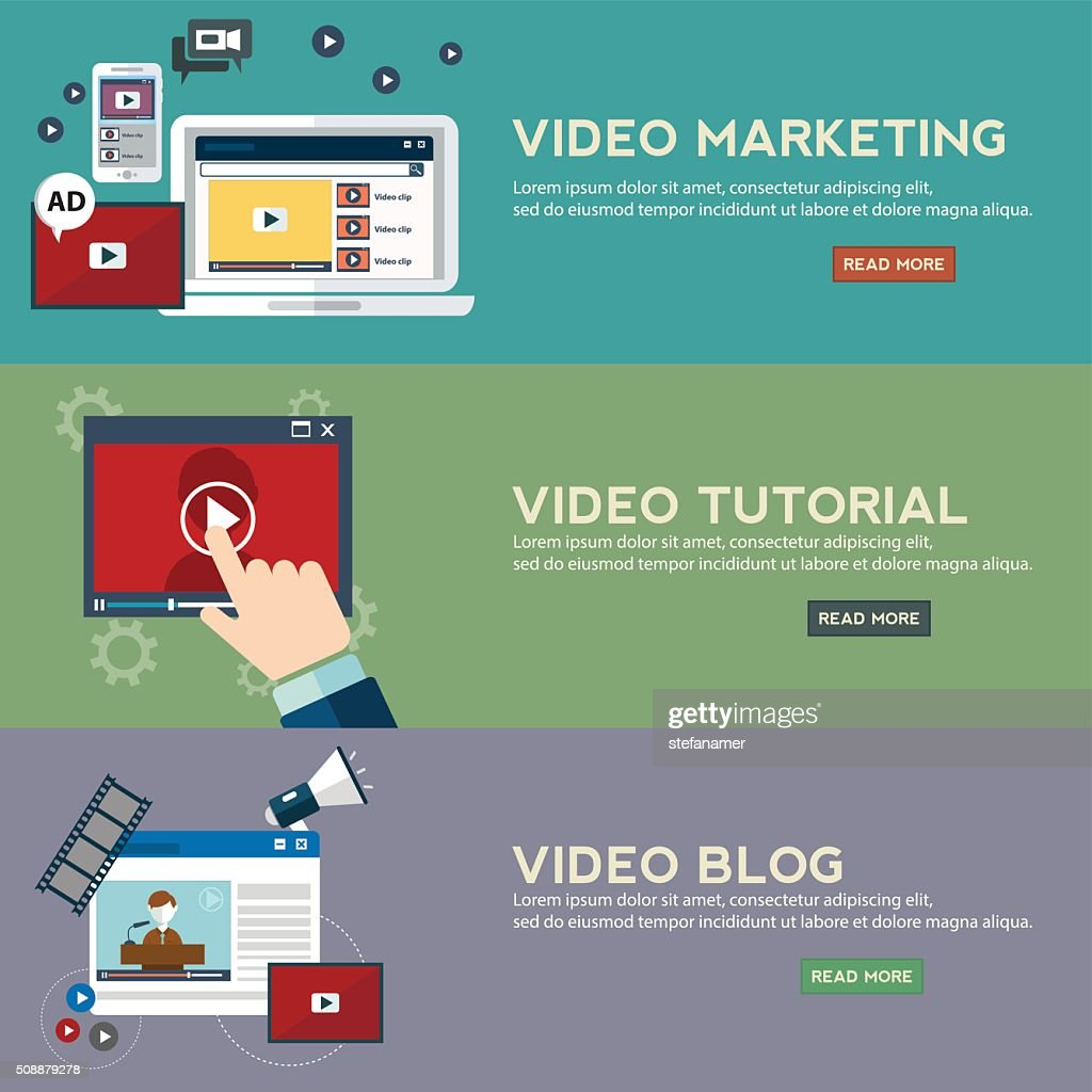 Concepts for video marketing, digital marketing, advertising