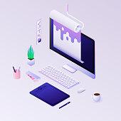 Concepts for web design development, design studio