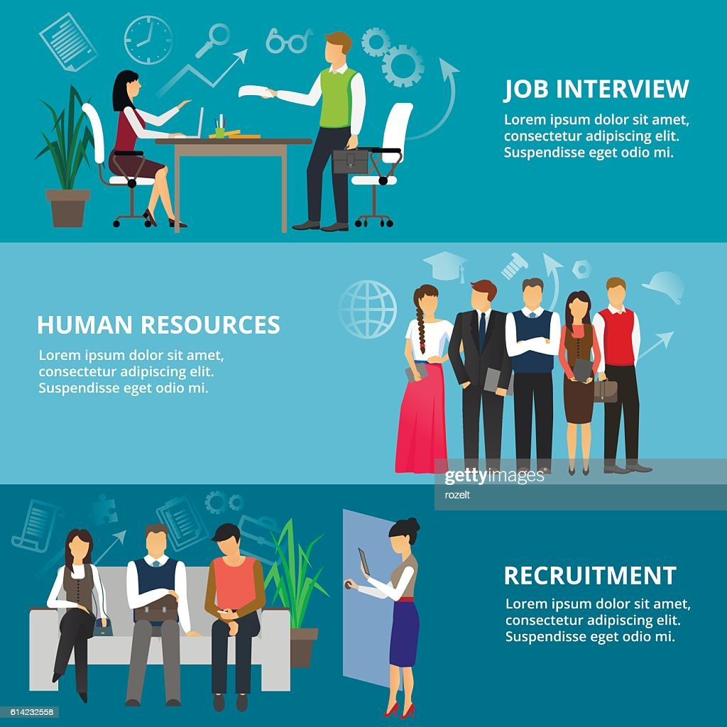 Concepts of job interview, human resources and recruitment