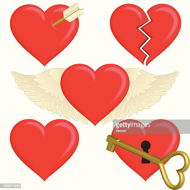 concepts of the heart - broken heart stock illustrations