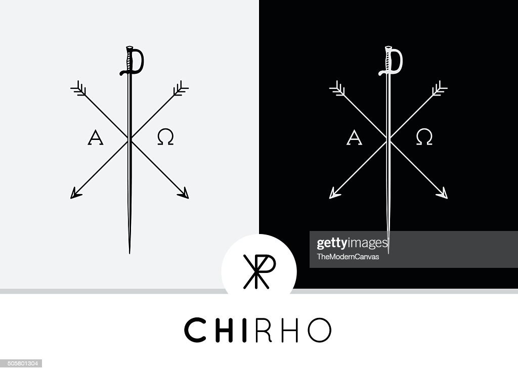 Conceptual Abstract Chi-Rho Symbol design with sword & arrows