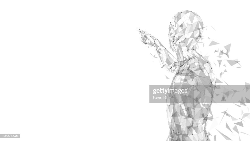Conceptual abstract man touching or pointing to something. Connected lines, dots, triangles. Artificial intelligence concept. High technology vector digital background. 3D render vector illustration