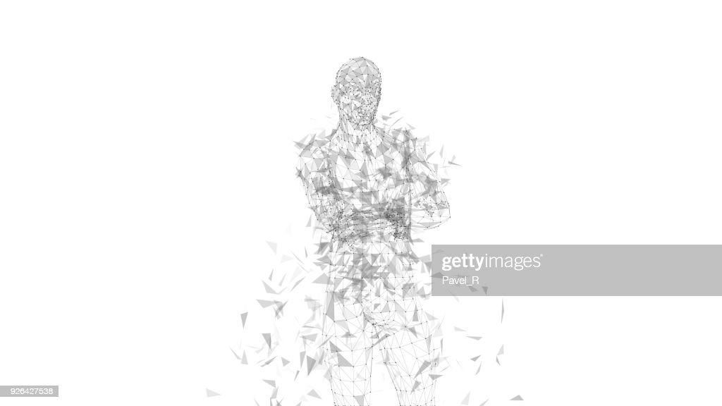Conceptual abstract man with crossed arms. Connected lines, dots, triangles, particles on white background. Science or technology concept. High technology vector digital background for business banner