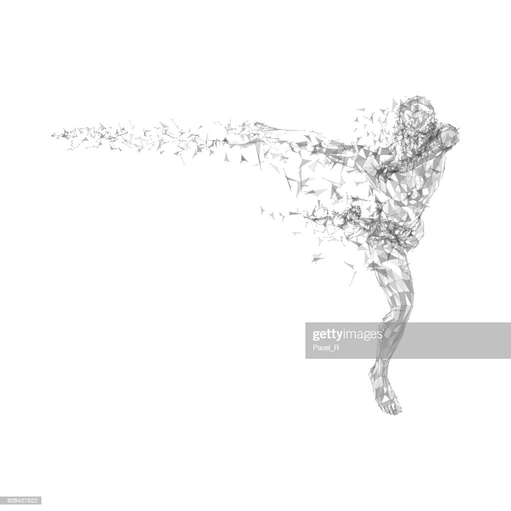 Conceptual abstract running man. Connected lines, dots, triangles, particles on white background. Science or technology concept. High technology vector digital background for business banner