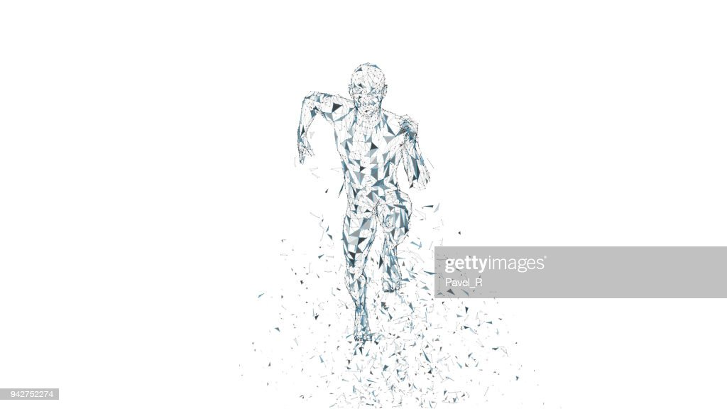 Conceptual abstract running man. Runner with connected lines, dots, triangles. Artificial intelligence, digital sport concept. High technology vector digital background. 3D render vector illustration