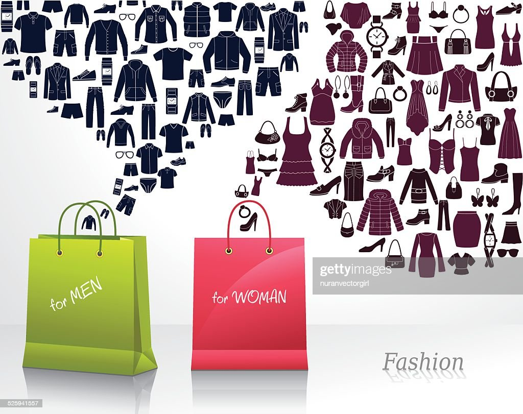 Conceptual background with women's and men's fashion. Shopping.