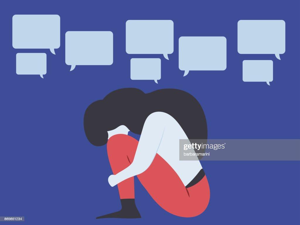 Conceptual illustration for bullying, gossiping; aspersion, defamation, slander, libel, slur, detraction, on female girl and teen