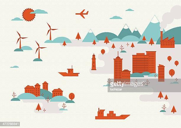 ilustraciones, imágenes clip art, dibujos animados e iconos de stock de concepto de ilustración de ciudades y paisajes urbanos - torre petrolera