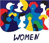 Conceptual illustration with women in group - vector design