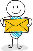 Conceptual image with cartoon stickman showing envelope (email) icon. Vector.
