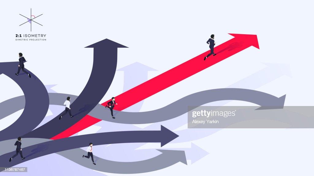 Conceptual Isometric Better Choice Vector Illustration : stock illustration