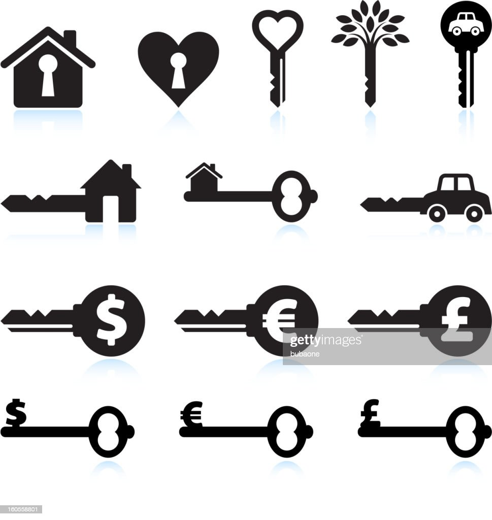 Conceptual Key Black and White royalty free vector icon set