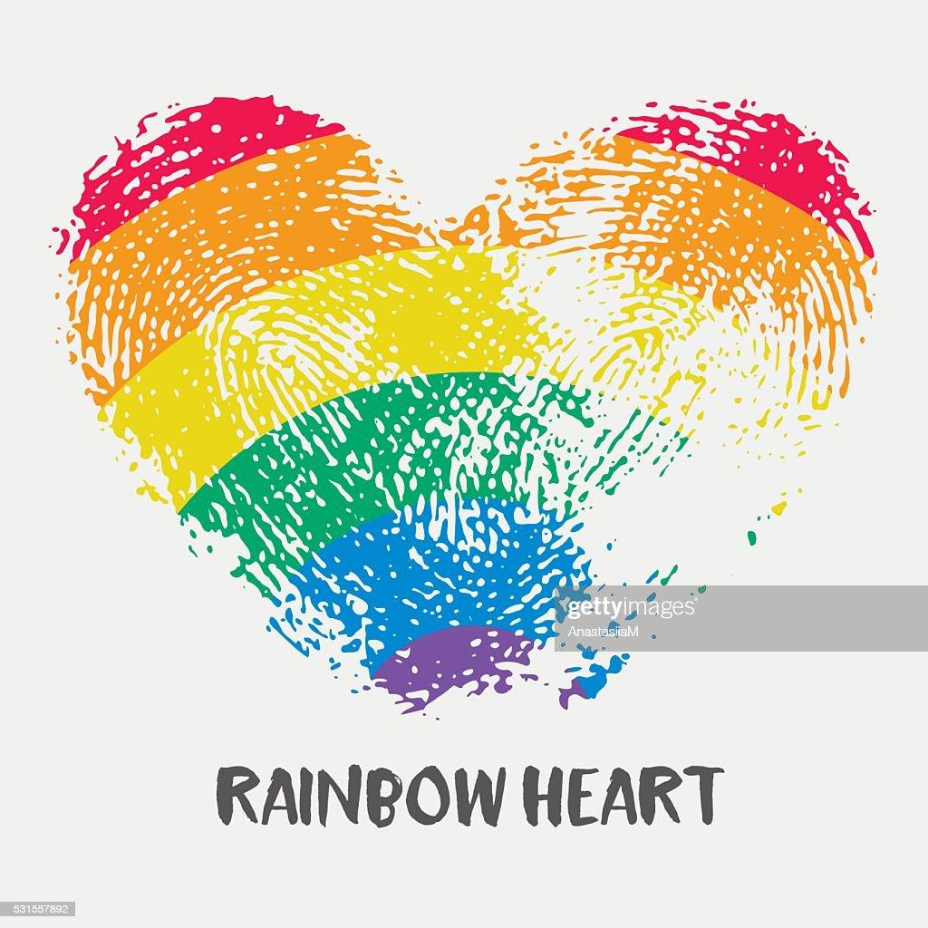 Conceptual logo with fingerprint rainbow heart.
