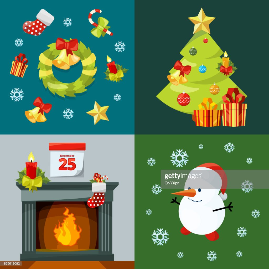 Conceptual pictures of christmas celebration. Vector illustrations in cartoon style