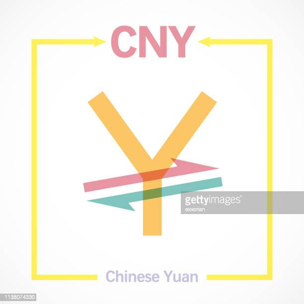Conceptual Up & Down CNY Currency Symbol